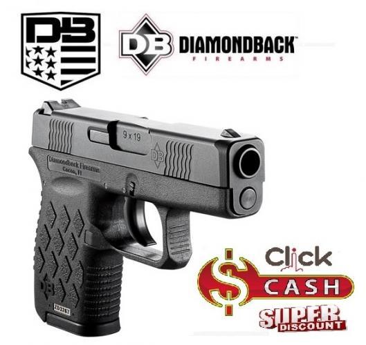 "Diamondback Firearms DB9 9mm 3"" 6+1 Black Poly Grip Black Finish"