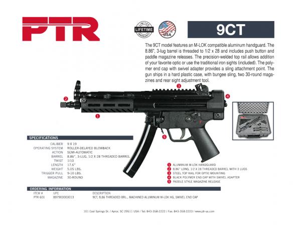 PTR 601 HK MP5 / SP5K Clone 9CT 9MM, 8.86' Threaded Barrel, Steel Frame, Black Finish, 30Rd, 3 Lug Barrel, Aluminium M-LOK Handguard, Welded Scope Mount