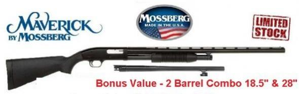 "Maverick 88 12GA Combo - Two Barrel Set  18.5"" & 28"" Synthetic Hunting and Defense"