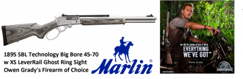 Marlin 1895 SBL Large Loop .45-70 Government With 18.5 Inch Stainless Steel Barrel Laminated Stock XS Ghost Ring Sight System and XS Rail 5 Rounds
