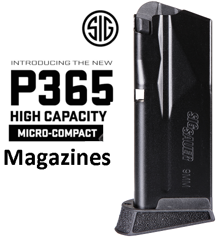 Sig Sauer Magazine 9MM, 10Rd, Finger Extension, Fits P365 MAG-365-9-10X