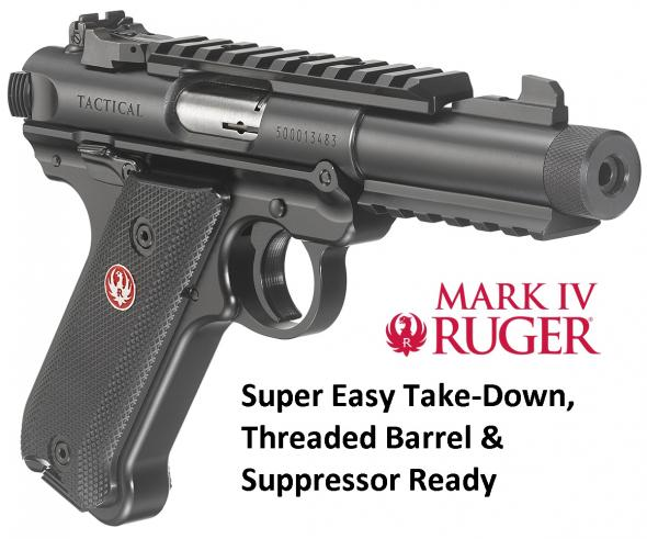 "Ruger, Mark IV, Tactical, Semi-automatic, 22LR, 4.4"" Threaded Barrel, Alloy Frame, Blue Finish, Checkered Synthetic Grips, 2-10Rd Magazines, Picatinny Rails on Top and Bottom of Barrel, Adjustable Rear Sight"