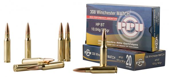 PPU PPM3082 Match 308 Winchester/7 62 NATO 168 GR Hollow Point Boat Tail 20  Rounds Per Box