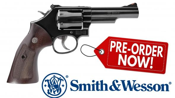 "Smith & Wesson Classic 19, Revolver, 357 Mag, 38 Special, 4.25"" Stainless Steel Barrel, Carbon Steel Frame, Blue Finish, Wood Grips, 6Rd, 37.2 oz, Red Ramp Front Sight, Adjustable Rear Sight"