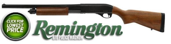 Remington 870 Police Serier 12 Gauge 18 Inch Barrel Blue Finish Bead Sights Wood Stock 4 Round