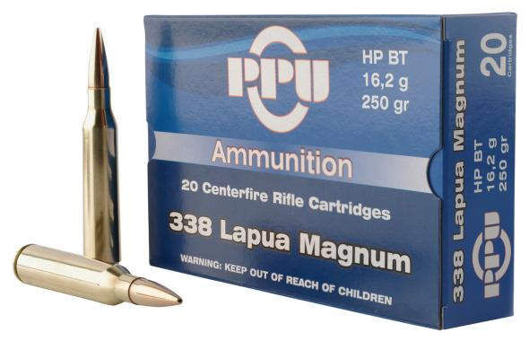 PPU PP338H Standard Rifle 338 Lapua Magnum 250 GR Hollow Point Boat Tail 10 Rounds Per Box