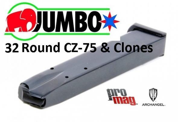 CZ-75 Magazine 9mm Luger 32 Rounds Steel Blued CZ-A3 Fits CZ-75/TZ-75/Baby Eagle