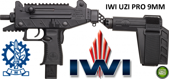IWI Uzi Pro Pistol With Folding Stablizing Brace 9mm 4.5 Inch Barrel Adjustable Sights Picatinny Rails Three Safeties 25 Round