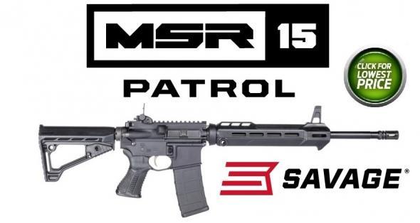 "Savage MSR 15 Patrol AR-15 Semi Auto Rifle 5.56 NATO 16.1"" Barrel 30 Rounds Adjustable Sights Collapsible Stock Black"