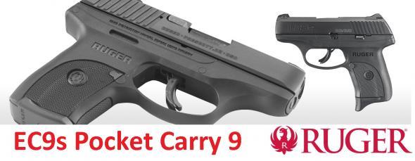 RUGER EC9S ( LC9 Gen3 ) Striker-Fired Compact 9mm 3.12 Inch Barrel Integral Sights Black Oxide Finish 7 Round