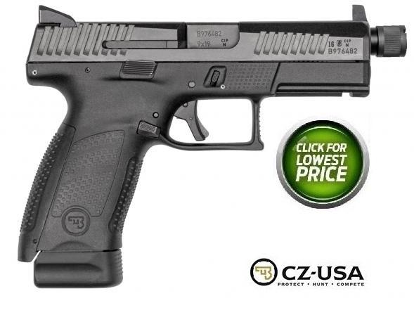 "CZ-USA, P-10 Compact, Striker Fired, 9MM, 4"" Cold Hammer Forged Threaded Barrel, 1/2x28 Thread Pitch, Polymer Frame, Black Finish, 3-Dot Sights, 17 Rounds"