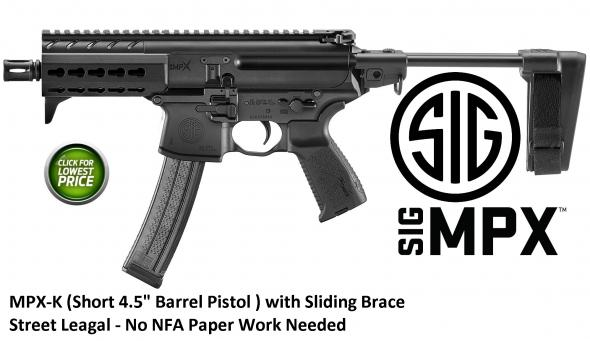 "Sig Sauer MPX-k (Short) 9MM, 4.5"" Barrel Collapsible PSB 30Rd KeyMod Hand Guard"