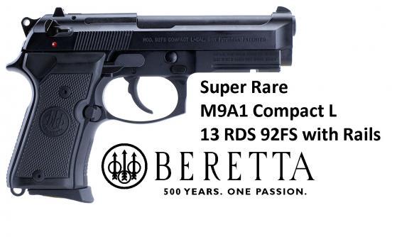 "Beretta 92FS (M9A1) Compact L With Rails 9MM 4.25"" Barrel, 13 Round Bruniton Finish"