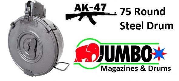 RWB AK-47 75 Round Drum Magazine Steel Hinged Back