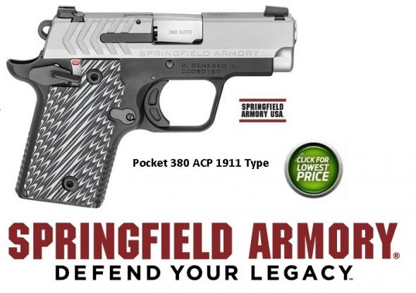 "Springfield, 911, Semi-Auto, 380 ACP, 2.7"" Barrel, 7+1 Round, G10 Grips, Black Melonite Frame & Stainless Slide"