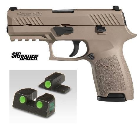 "Sig Sauer, P320 Compact, Striker Fired, Compact, 9MM, 3.9"" Barrel, Polymer Frame, Flat Dark Earth Finish, Night Sights, 15Rd, 2 Magazines"