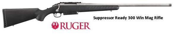 RUGER STAINLESS THREADED BARREL AMERICAN RIFLE MAGNUM 300 WIN MAG SUPPRESSOR READY