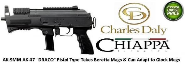 "DRACO Type AK-9 9mm Luger Semi Auto Pistol 6.3"" Barrel 10 Rounds Polymer Handguard Steel Black"