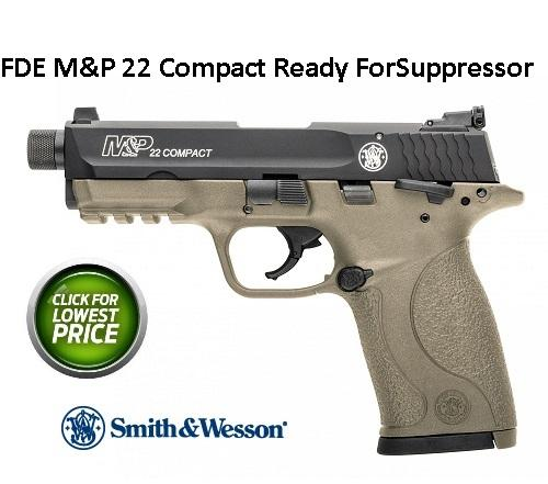 "S&W M&P 22 Compact Suppressor Ready 22 Long Rifle 3.5"" 10+1 FD Polymer Grip FDE"