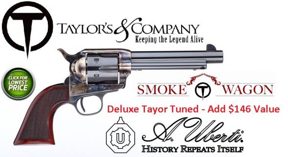 "Taylors Firearms, The Smoke Wagon Deluxe 45LC 5.5"" 6rd Walnut Grip CH Blue"