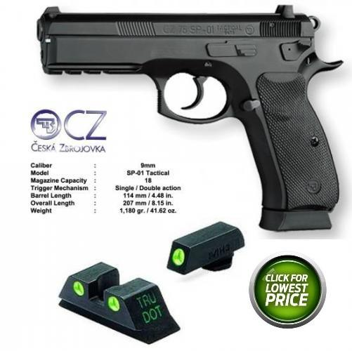 UPGRADED CZ 75 SP-01 Tactical w Night Sights 9mm 4.6 Inch Barrel Integral Rail Black Polycoat Finish Steel Frame 18 Round