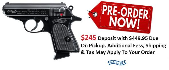 PO Deposit Only: Walther Model PPK .380 ACP 3.3 Inch Barrel Black Frame Black Grips 6 Round