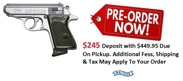 PO Deposit Only: Walther Model PPK .380 ACP 3.3 Inch Barrel Stainless Steel Frame Black Grips 6 Round
