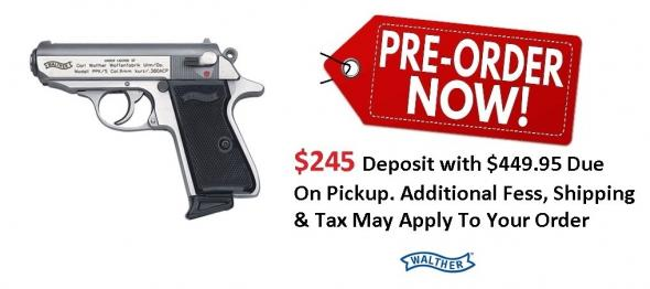 PO Deposit Only: Walther Model PPK/S .380 ACP 3.3 Inch Barrel Stainless Steel Frame Black Grips 7 Round