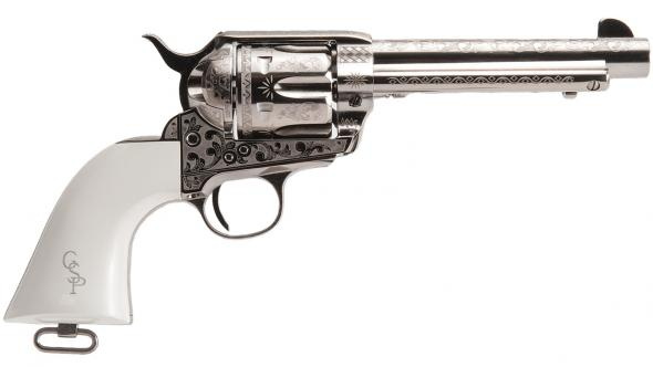 "Cimarron, Frontier Patton Revolver, 45 LC, 4.75"" Barrel, 6 Shot, Polished Nickel Plated Finish"