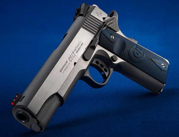 "Colt's Manufacturing, Competition Government, Semi-automatic, 1911, 9MM, 5"" Barrel, Stainless Steel Frame, Stainless Steel Finish, G10 Checkered Blue Grips with Scallop, 9Rd, Genuine Novak Red Fiber Optic Front Sight, Genuine Novak Adjustable Rear Sight"