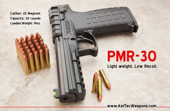 Kel-Tec PMR-30 .22 Winchester Magnum Rimfire 4.3 Inch Barrel Fiber Optic Sights Picatinny Rail Blue Slide Black Grip/Frame 30 Round 💲💲Cash $379.95💲💲