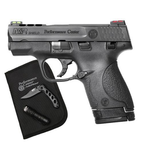 "S&W M&P Performance Center Shield 9MM Carry Package 3.1"" Ported Barrel, Thumb Safety w Knife & Flashlight"