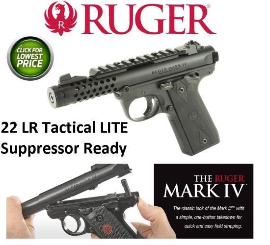 """Ruger 43906 Mark IV Double 22 Long Rifle (LR) 4.4"""" 10+1 Black Polymer Grip Black"""
