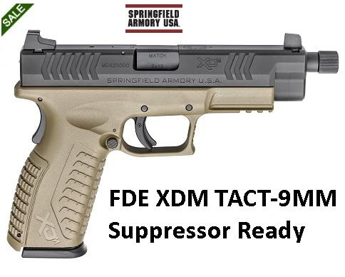 Springfield XDM Suppressor Ready Full Size 9mm with 5.28 Inch Threaded Barrel .5-28 TPI Forged Steel Slide with Melonite Finish Flat Dark Earth Polymer Frame 19 Round
