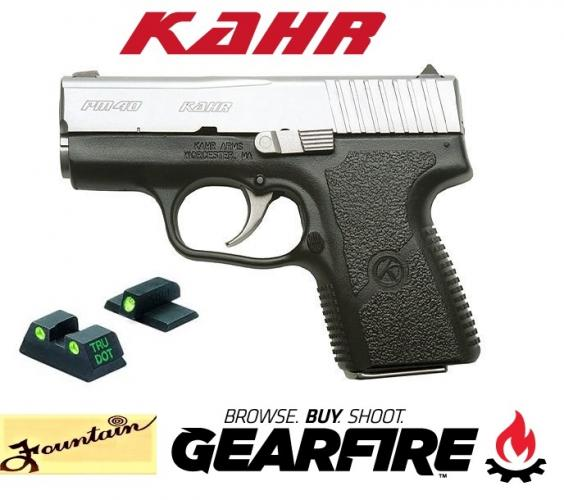 "Kahr Arms PM40 Semi Auto Handgun .40 S&W 3"" Barrel 5 Rounds Night Sights Polymer Frame Stainless Finish PM4043N"