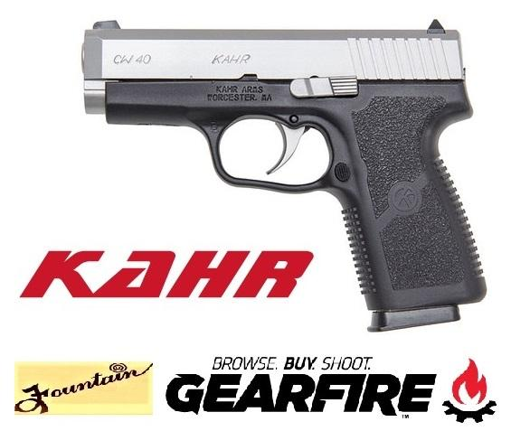 "Kahr Arms CW40 Semi Automatic Handgun .40 S&W 3.6"" Barrel 6 Rounds Polymer Frame Matte Stainless Steel Slide White Bar Dot Sights CW4043"