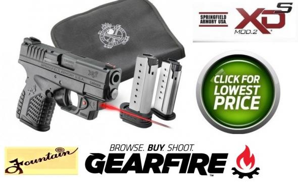 $140+ Extras & Springfield XDS 45ACP 3.3' BBL Combo Deal with Viridian Laser, Zipper Case & Two 5 RD Mags