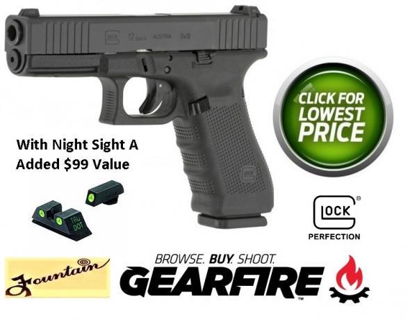 """$99+ Bonus Glock 17 Gen4 9mm 4.02"""" Barrel Glock Night Sights Rough Textured Frame 5.5 Pound Trigger 17 Round"""