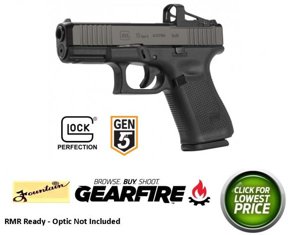 "Glock, 19 Gen5 M.O.S., Striker Fired, Compact Size, 9MM, 4.02"" Marksman Barrel, Polymer Frame, Matte Finish, Fixed Sights, 15Rd, 3 Magazines, Front Serrations, Ambidextrous Slide Stop Lever, Flared Mag Well, nDLC Finished Slide & Barrel, No Finger Grooves"