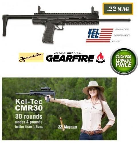 "KEL TEC CMR 30 .22 Magnum WMR 16.1"" Threaded barrel Collapsible stock Aluminum frame 30 rounds"