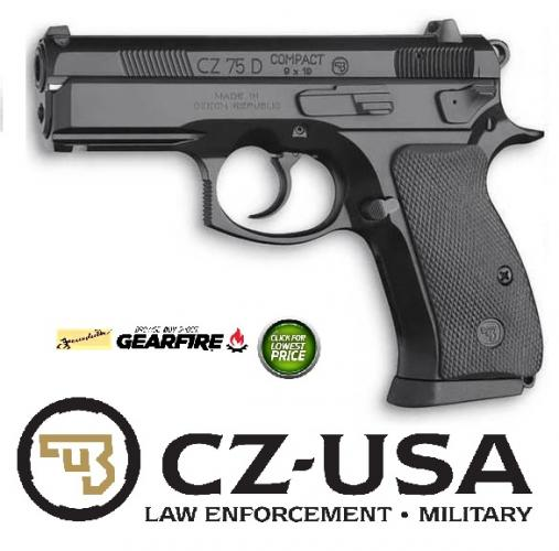 CZ 75 P01 Compact With De-cocker 9mm Luger 3.8 Inch Barrel Black Finish Polycoat 14 Round