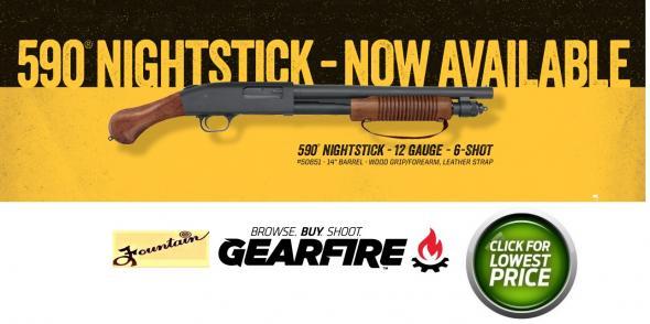 """Mossberg 590 Shockwave """"Night Stick"""" 12 Gauge 14.375"""" Barrel, 5+1 Round, Walnut Pistol Grip"""