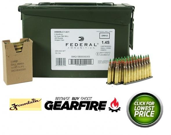 420RDS SS109 FED Lake City 5.56mm/.223 62 Grain Full Metal Jacket Boattail Steel Core On Stripper Clips In Ammo Can