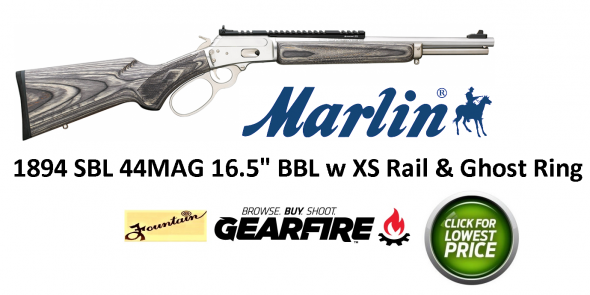 "Marlin, 1894SBL, ""JURASSIC MINI"" , 44 Mag, 16.5"" Stainless Steel Barrel, Gray/Black Laminate Stock, Scout Mount, Big Loop Lever, XS Ghost Ring Sights, 6Rd"