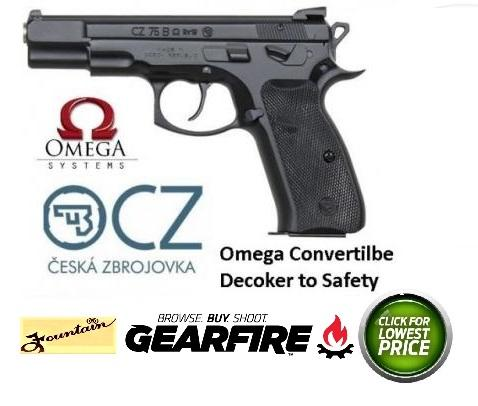 CZ 75 B Omega Convertible 9mm 4.6 Inch Barrel Fixed 3-Dot Sights Decocker/Safety Black Grips 16 Round