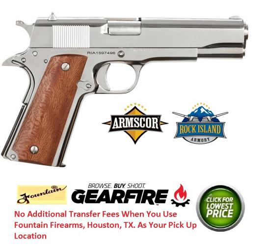 "Armscor, Rock Island 1911, Full Size, 38 Super, 5"" Barrel, Steel Frame, Polished Nickel Finish, Wood Grips, Fixed Sights, 9Rd"