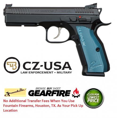"CZ-USA, SP-01 Shadow 2 Single/Double 9mm Luger 4.8"" Barrel, 17+1 Round, Blue Aluminum Grip Black Nitride"