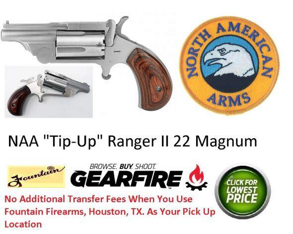 "North American Arms, Mini Revolver Ranger II, 22WMR, 1.625""Barrel, Steel Frame, Stainless Finish, Rosewood Grips, Fixed Sights, 5Rd, Break Open Cylinder"
