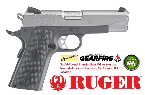 """Ruger, SR1911, Commander Size, 9MM, 4.25"""" Barrel,Stainless Slide, Grey Anodized Aluminum Frame, Rubber Grips, 9Rd, 3 Dot Sights"""