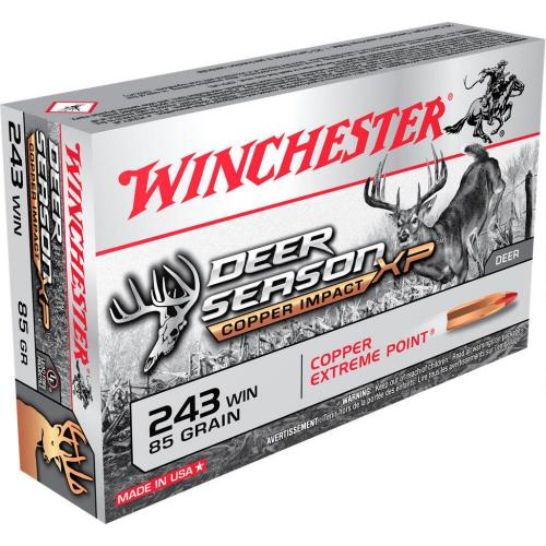 Winchester Deer Season XP Copper Impact  243 Win Ammunition 20 Rounds 85  Grain LF Solid Copper Poly Tip 3260fps